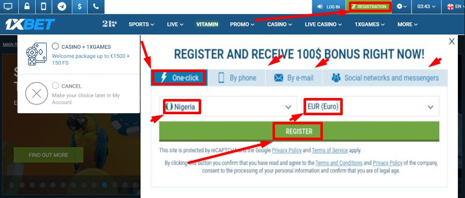 Check-in register 1xBet process